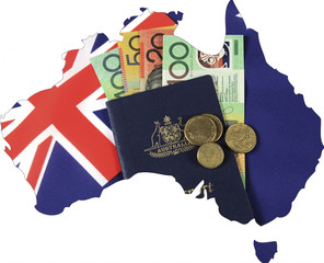 Map of Australia with Australian flag, passport and money