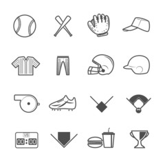Baseball Sport Icons Vector with White Background