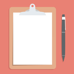 Brown clipboard with blank white paper.  with pen put alongside.