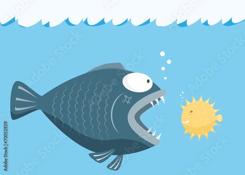 Big fish eat little fish. Fear of small fish concept. vector ill
