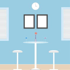 Interior concept of design table set. Vector illustration
