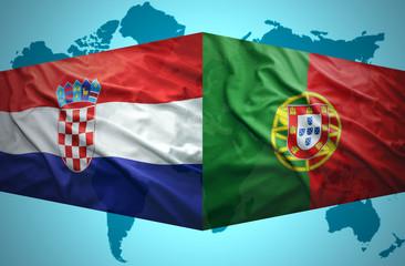 Waving Croatian and Portuguese flags