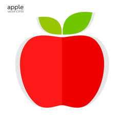 Red apple paper style on white background vector illustration