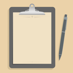 Gray clipboard with blank brown paper.  with pen put alongside.