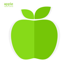 Green apple paper style on white background vector illustration