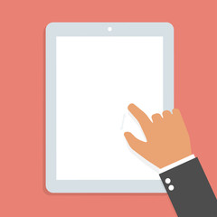 Hand touch screen tablet. Vector illustration
