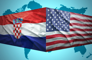 Waving Croatian and American flags
