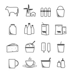 icon set milk, dairy products, production vector