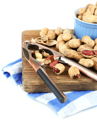 Peanuts cutting board,  isolated on white background.