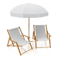 blank white two sun chairs and umbrella