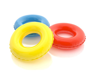 colorful pool rings isolated on white background