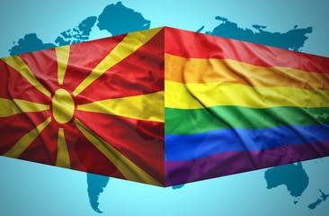 Waving Macedonian and Gay flags