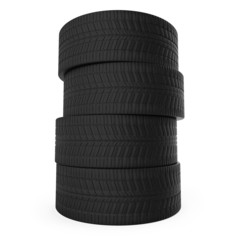 Stack of automobile tyres isolated on white