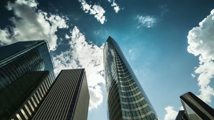 building, finance, sky blue, clouds, timelapse
