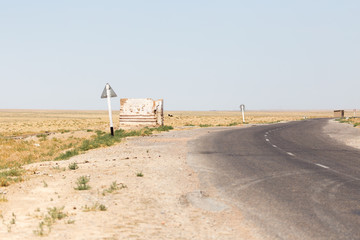 road in the steppes of Kazakhstan