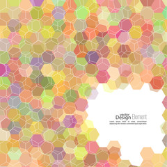 Abstract background of hexagonal shapes of different colors.