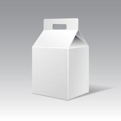 White cardboard gift rectangular box with handle