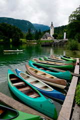 Canoes on the Lake Bohinj