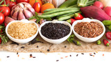 Red, black and unpolished organic rice and vegetables poster