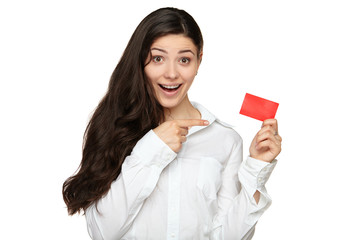 Showing woman presenting blank gift card sign