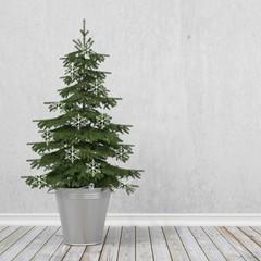 retro christmas tree with snowflakes in metal bucket