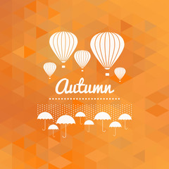Autumn sign with umbrellas and hot air balloons