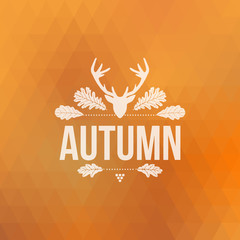 Autumn sign with deer head and oak leaves, geometric background