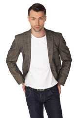 Young man with jacket over white background