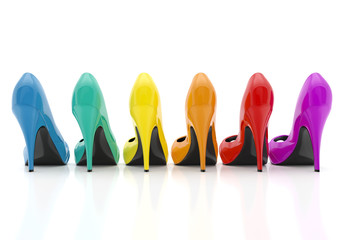 colorful women stiletto heel shoes