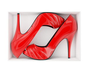 pair of red women stiletto heel shoes in box