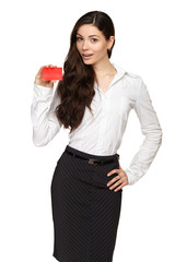 Businesswoman holding a blank card