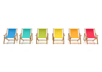 colorful sun chairs isolated on white background