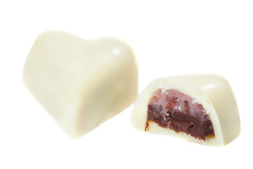 Sweet made of tasty white chocolate with filling