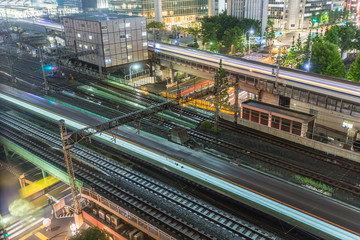 Tokyo trains and traffic at night