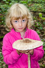 girl with giant parasol mushroom