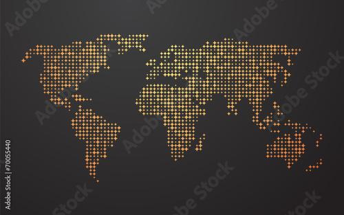 Zdjęcia na płótnie, fototapety, obrazy : world map made up of the yellow orange shapes