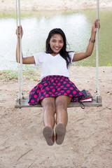 woman swinging on a swing