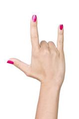 caucasian hands making horn gesture