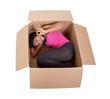 girl lying in a cardboard box