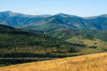 Landscape in the Ukrainian Carpathians with the freight train pa