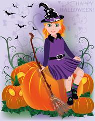 Little girl witch in black hat, vector illustration