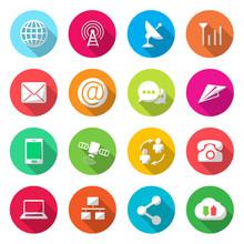 Komunikacja wektora kolorowe ikony