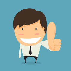Businessman thumbs up. like concept vector.