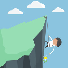 Businessmen climbing. To harvest ideas tree. concept of difficul