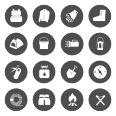 Camping Equipment Icons vector.
