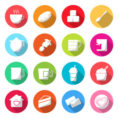 Coffee Circle Color Icons Vector.