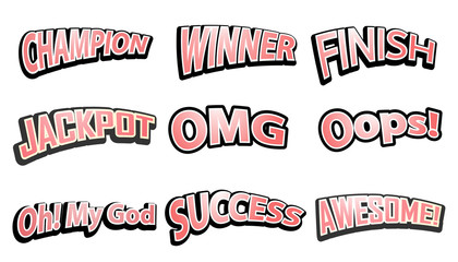 Comic Speech text hits set. Vector illustration