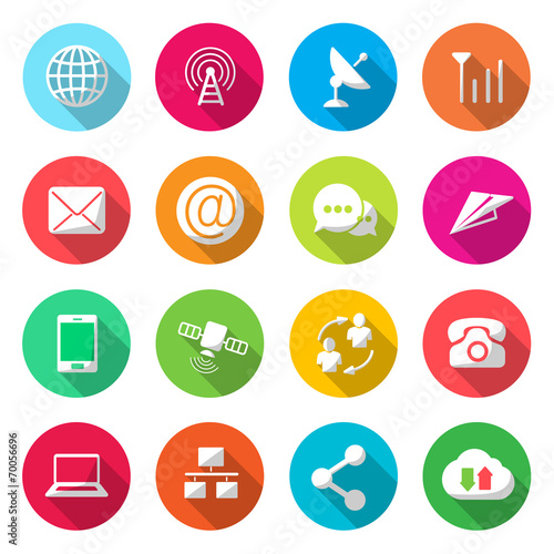 Communications colorful Icons Vector poster