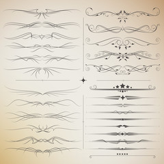 Filigree big set of calligraphic elements for design. modern and