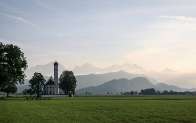 church on a background of mountains